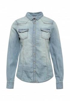 Женская серая осенняя джинсовая рубашка