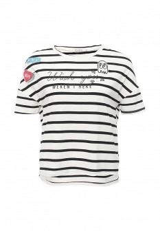 Женская белая черная осенняя футболка