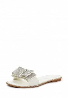 Женские белые кожаные летние шлепанцы