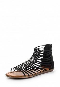 Женские черные сандалии с высоким голенищем