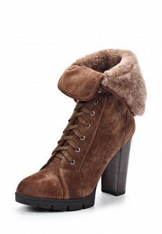 Женские коричневые осенние сапоги на каблуке на платформе