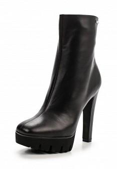 Женские черные осенние кожаные сапоги на платформе