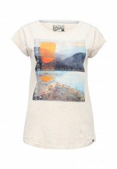 Женская бежевая осенняя футболка