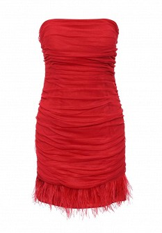 Красное осеннее платье Apart