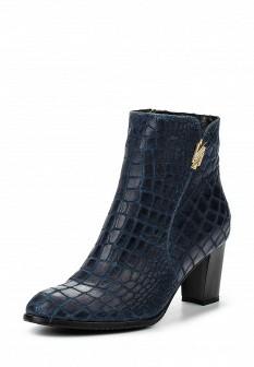 Женские синие осенние кожаные сапоги на каблуке