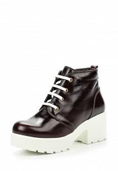Женские коричневые осенние кожаные ботильоны на каблуке