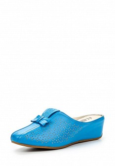 Женские голубые кожаные сабо на каблуке