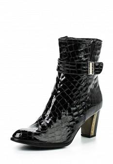Женские черные осенние лаковые сапоги на каблуке
