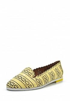Женские желтые кожаные туфли лоферы на каблуке