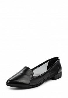 Женские черные кожаные текстильные туфли на каблуке