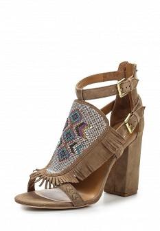 Женские коричневые кожаные босоножки на каблуке