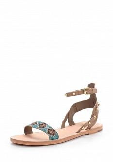 Женские коричневые итальянские кожаные сандалии