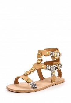 Женские коричневые кожаные сандалии на каблуке с высоким голенищем
