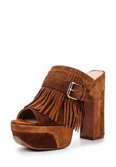 Женские коричневые кожаные сабо на каблуке на платформе