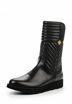 Женские черные итальянские осенние кожаные сапоги