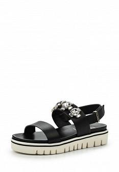 Женские черные итальянские кожаные сандалии на каблуке
