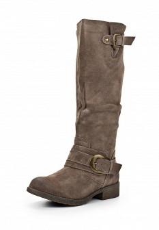 Женские коричневые осенние сапоги на каблуке