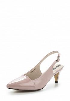 Женские розовые кожаные лаковые босоножки на каблуке