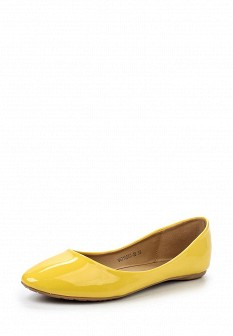 Женские желтые кожаные лаковые балетки
