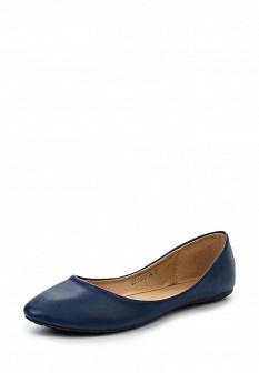 Женские синие кожаные балетки