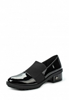 Женские осенние лаковые текстильные туфли на каблуке