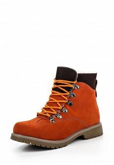 Женские оранжевые осенние ботинки на каблуке