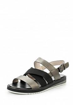 Женские серые кожаные сандалии на каблуке