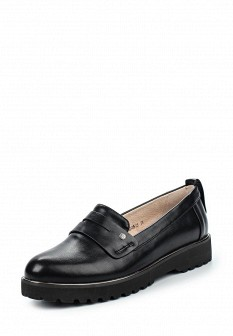 Женские черные кожаные туфли лоферы на каблуке