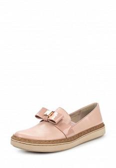 Женские розовые кожаные лаковые туфли лоферы