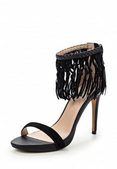 Женские черные осенние кожаные босоножки на каблуке