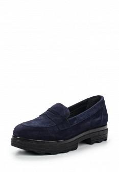 Женские синие испанские туфли лоферы на платформе