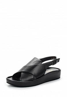 Женские черные испанские кожаные сандалии на каблуке
