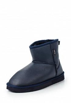 Женские синие осенние кожаные сапоги