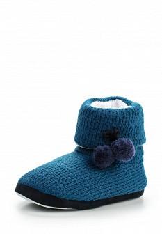 Женские синие осенние текстильные тапочки