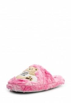 Женские розовые осенние меховые тапочки