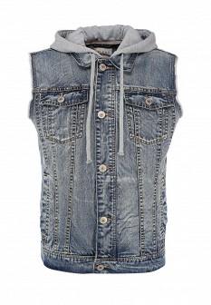 Мужской синий джинсовый жилет