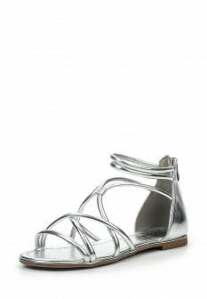Женские серебряные кожаные сандалии с высоким голенищем