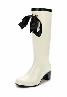Женские бежевые осенние сапоги на каблуке