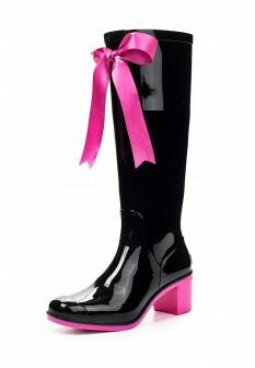 Женские розовые черные осенние сапоги на каблуке