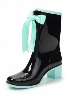 Женские голубые черные осенние сапоги на каблуке