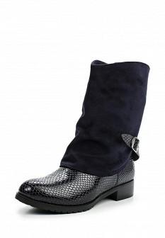 Женские синие осенние лаковые сапоги на каблуке