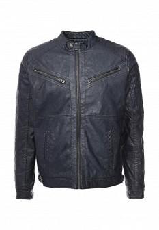 Мужская синяя осенняя кожаная куртка