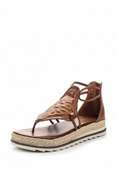 Женские коричневые кожаные сандалии с высоким голенищем