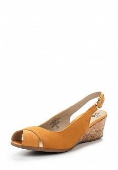 Женские оранжевые босоножки на каблуке