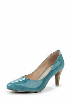 Женские голубые кожаные лаковые туфли на каблуке
