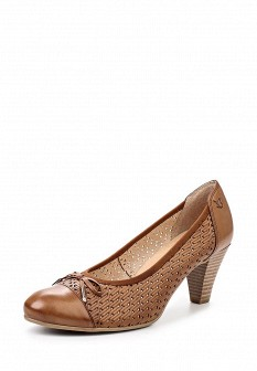 Женские коричневые кожаные туфли на каблуке