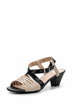 Женские бежевые черные кожаные босоножки на каблуке