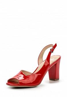 Женские красные кожаные лаковые босоножки на каблуке