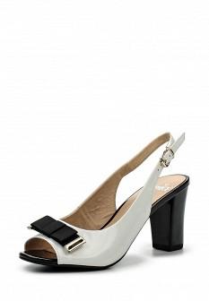 Женские белые кожаные лаковые босоножки на каблуке