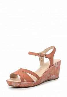 Женские розовые кожаные босоножки на каблуке